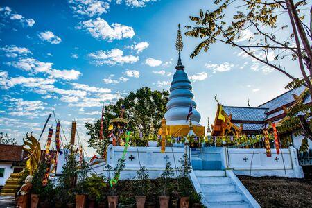 White pagoda in Phrathat Doi Leng temple, Thailand.