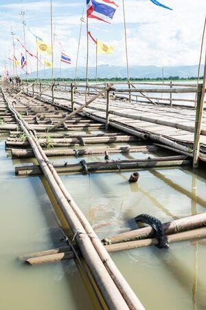 The bamboo bridge in Kwan Phayao lake, Phayao province.