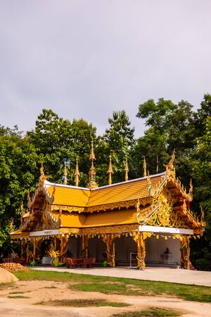 Thai style pavilion in Phra Nang Din temple, Phayao province.