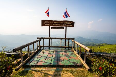 Border of Thailand and Myanmar at Doi Chang Mub base, Thailand.