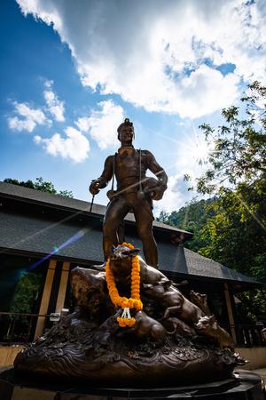 CHIANG RAI, THAILAND - October 11, 2019 : The Monument of Saman Kunan at Tham Luang Khun Nam Nang Non cave, Chiang Rai province. Editorial
