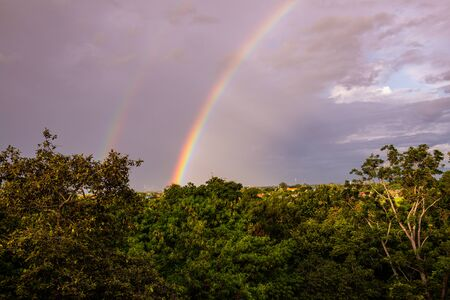 Rainbow with tree foreground at Chiangmai province, Thailand. Banco de Imagens