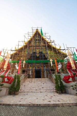 Mahawan Woramahawihan Temple under renovation, Lamphun province.