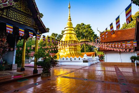 Golden Pagoda in Phra That Chomthong Temple, Phayao Province.