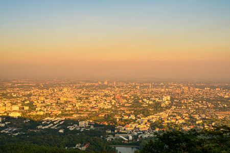 Chiang Mai Cityscape in Evevening, Thailand.