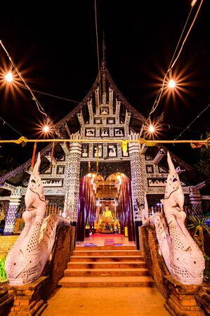 Night scene of Lok Molee temple, Chiang Mai province.