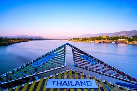 Golden triangle tourist attraction in Chiang Rai province, Thailand. Banco de Imagens