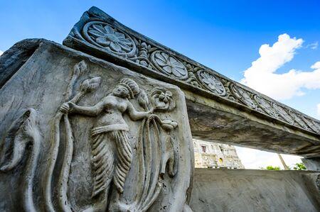 Molding Art of Bodh Gaya Replica at Chong Kham Temple, Lampang Province. 版權商用圖片