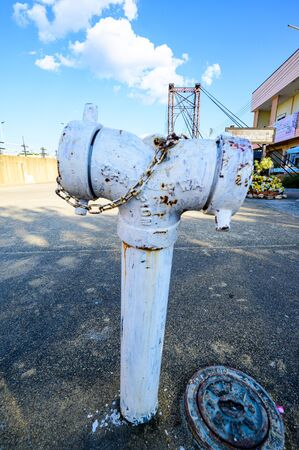 Street Fire Hydrant in Ngao City, Lampang Province. Stock Photo