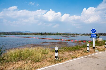 Mae Moh Reservoir with Bicycle Lane in Lampang Province, Thailand.