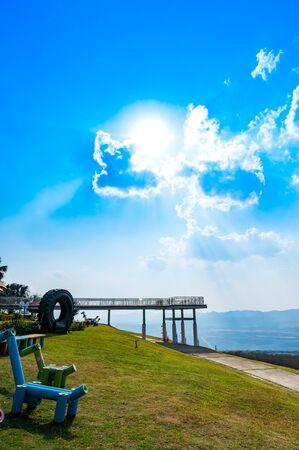 Sky Walk Bridge for View Point in Mae Moh Coal Mine, Lampang province. Zdjęcie Seryjne