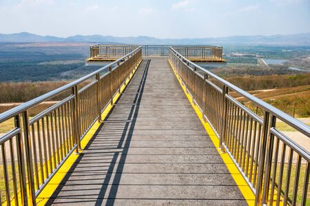 Sky Walk Bridge for View Point in Mae Moh Coal Mine, Lampang province.