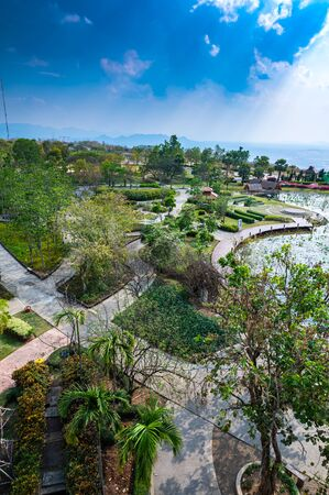 Beautiful park with frame in Mae Moh district, Lampang.