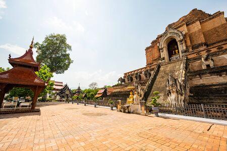 Ancient pagoda in Chedi Luang Varavihara temple, Chiang Mai province.