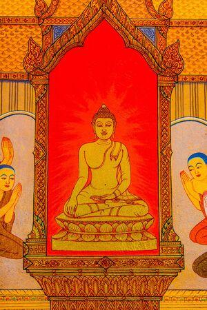 Buddha drawing on wall, Thailand.