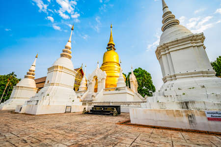 CHIANG MAI, THAILAND - April 16, 2020 : Wat Suan Dok or Buppharam Temple in Chiang Mai Province, Thailand.