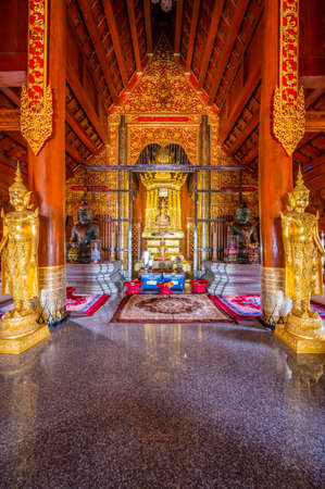 CHIANG MAI, THAILAND - April 24, 2020 : Pra Chao Tan Jai statue in Lanna style building, Chiang Mai province. Editorial