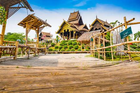 CHIANG MAI, THAILAND - February 26, 2020 : Beautiful park of Tah Mai I temple, Chiang Mai province.