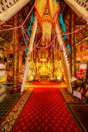 CHIANG MAI, THAILAND - February 26, 2020 : Lanna style Buddha in Tah Mai I temple, Chiang Mai province.