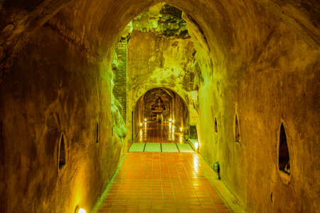 CHIANG MAI, THAILAND - January 9, 2020 : Ancient Tunnel in U-Mong Temple, Chiang Mai Province.