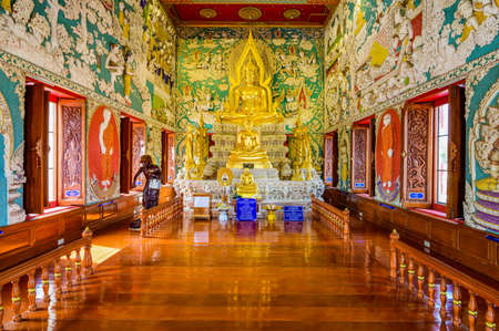 NAKHON SAWAN, THAILAND - January 25, 2020 : Buddha Statue with Beautiful Thai Style Art at Sriutumpron Temple, Nakhon Sawan Province. Editorial