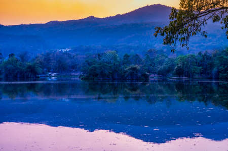 View of Ang Kaew reservoir in Chiang Mai university, Thailand.