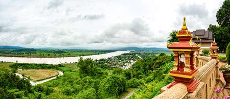 Panorama View of Mekong River at Wat Phrathat Pha Ngao View Point, Chiang Rai Province.