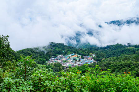 Mong Hill Tribe Village with Mountain View at Doi Suthep Pui National Park, Chiang Mai Province.