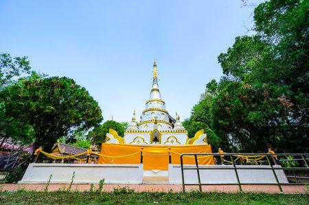 White Pagoda of Wat Luang Khun Win in Chiangmai Province, Thailand. Stock Photo