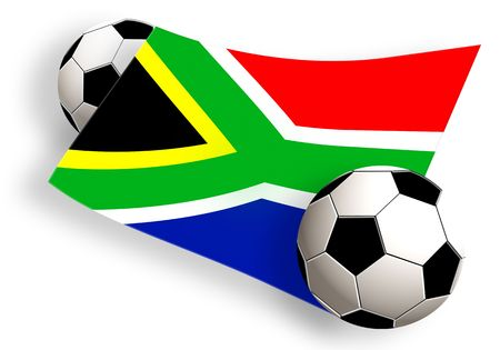south africa flag between two football balls isolated on white