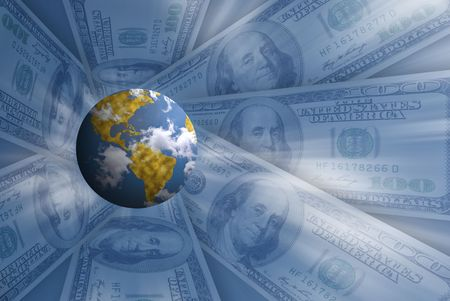 planet on blue background with american dollars