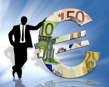 monetary: standing businessman silhouette & euro symbol on blue background