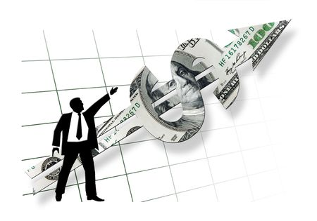 dissolving: business man silhouette showing direction of dollar pointer on white background with dissolving grid Stock Photo