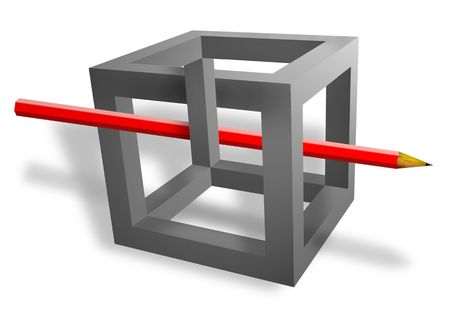 optics: red pencil pass throught the grey cube with wrong located verges isolated on white Stock Photo