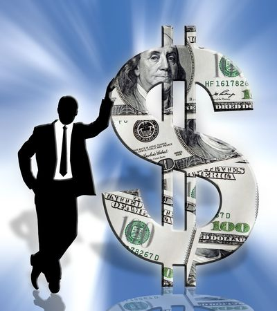investor: standing businessman silhouette & american dollar symbol on blue background Stock Photo