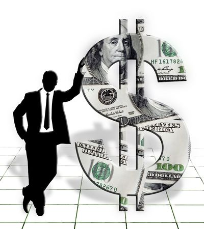 standing businessman silhouette & american dollar symbol on white