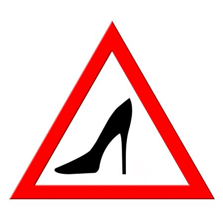 warning sign with woman shoes silhouette isolated on white
