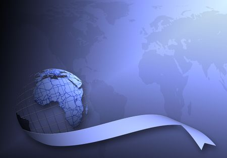 world map on grid with ribbon on blue background