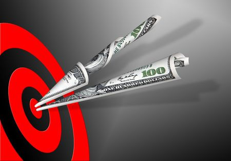 two 100 dollars banknotes and red target on black background Standard-Bild