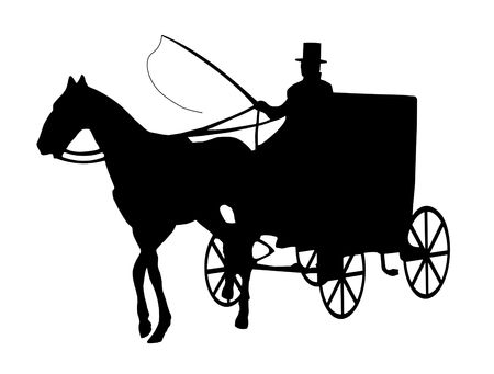 silhouette of one horse cab with driver isolated on white