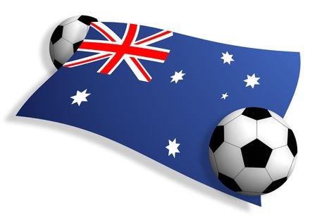 tourney: flag of Australia between two soccer balls isolated on white