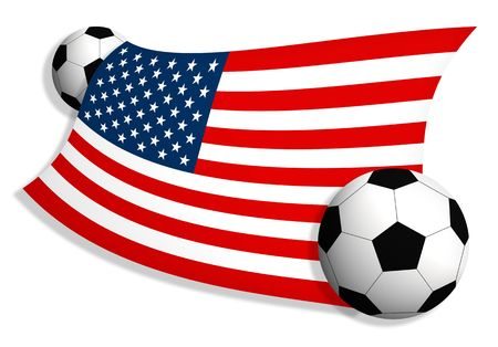 tourney: American flag between two soccer balls isolated on white