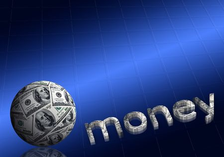 money sphere: american dollars sphere & money title on dark blue background