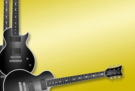 three black electric guitars on yellow background  Stock Photo