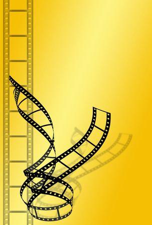 two black film strip on yellow background Stock Photo