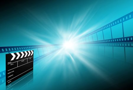 rollo pelicula: placa de Clap y dos tiras de película sobre fondo azul