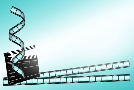clap board and three film strips on blue background