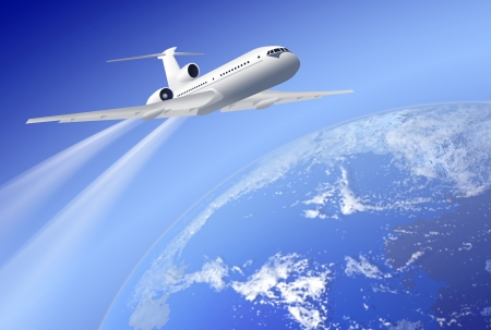 white airplane over earth on blue background  Stock Photo