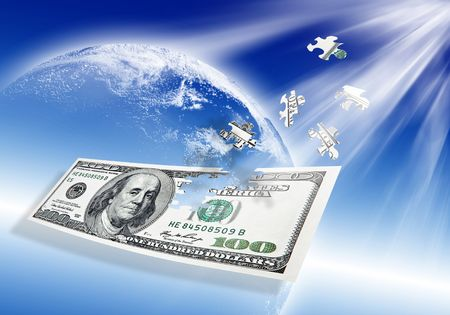 puzzle 100 dollar banknote on abstract blue background  photo