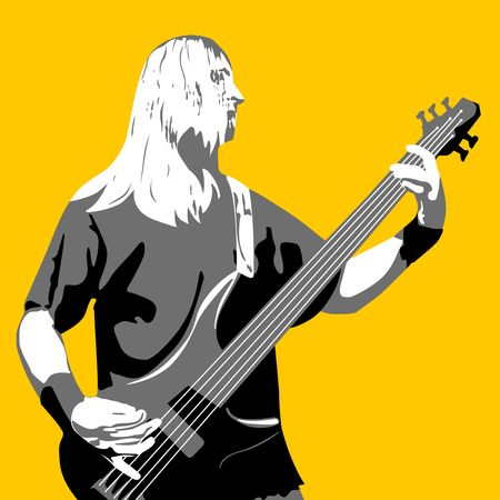 playing guitarist silhouette isolated on orange  Stock Photo - 6667145